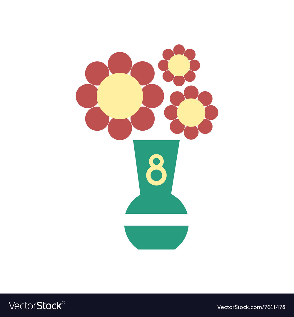 Flat icon on white background flowers in vase