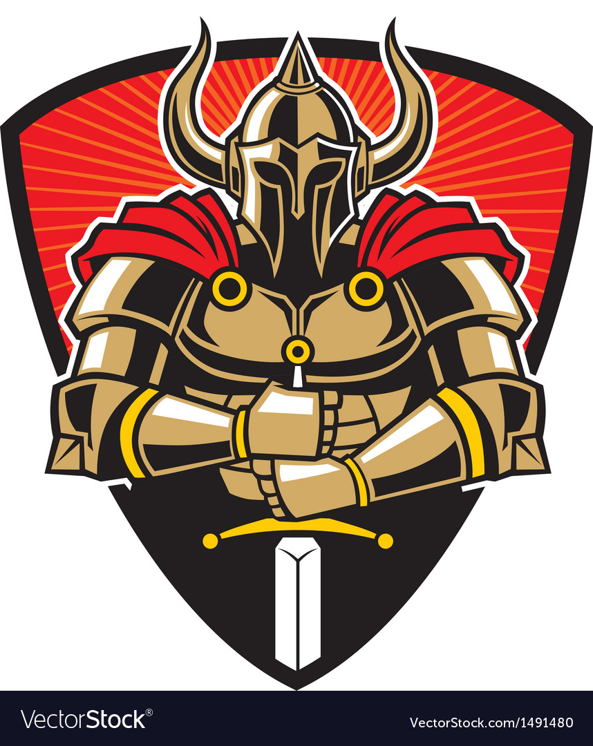 Warrior in armor with sword Vector Image