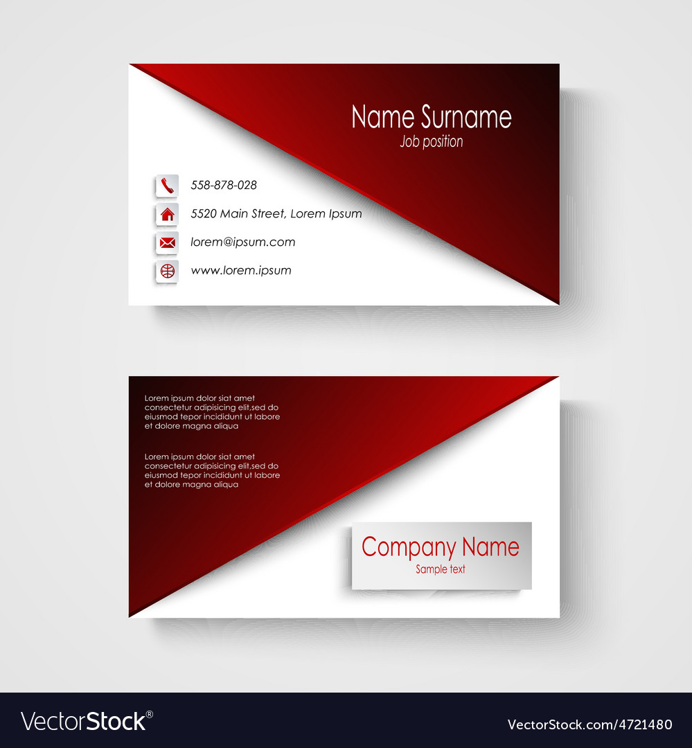 Business card with red white background template vector image colourmoves