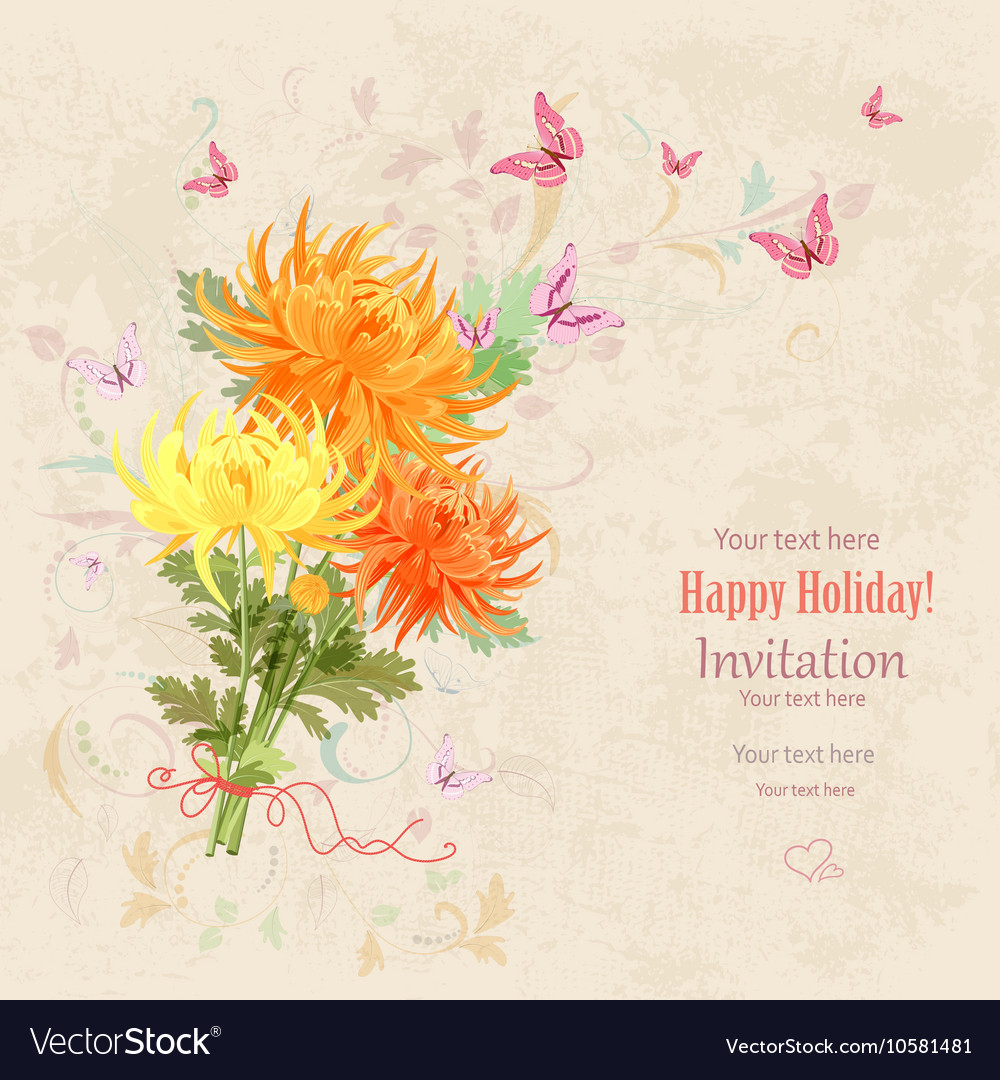 Lovely bouquet of orange and yellow chrysanthemums vector image