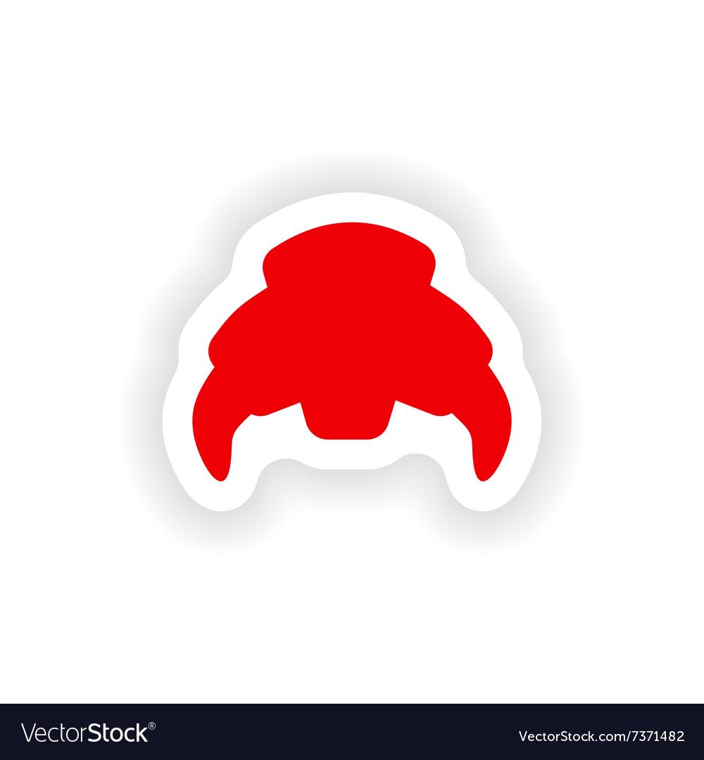 Icon sticker realistic design on paper croissant
