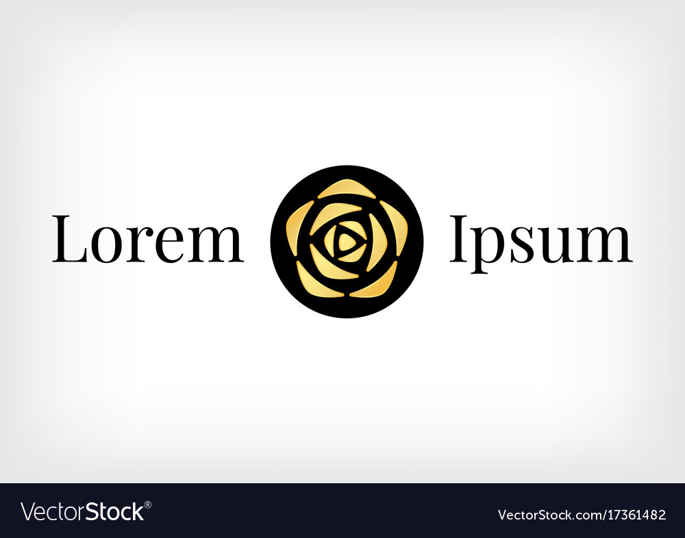 Black circle with gold rose logo vector image