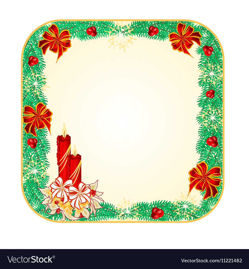 Button square Christmas Spruce with candlestick vector image