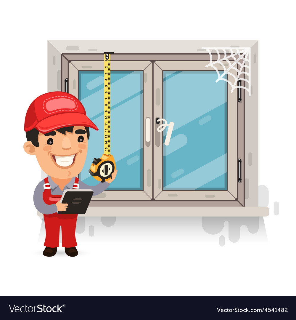 Carpenter Measures the Old Window vector image