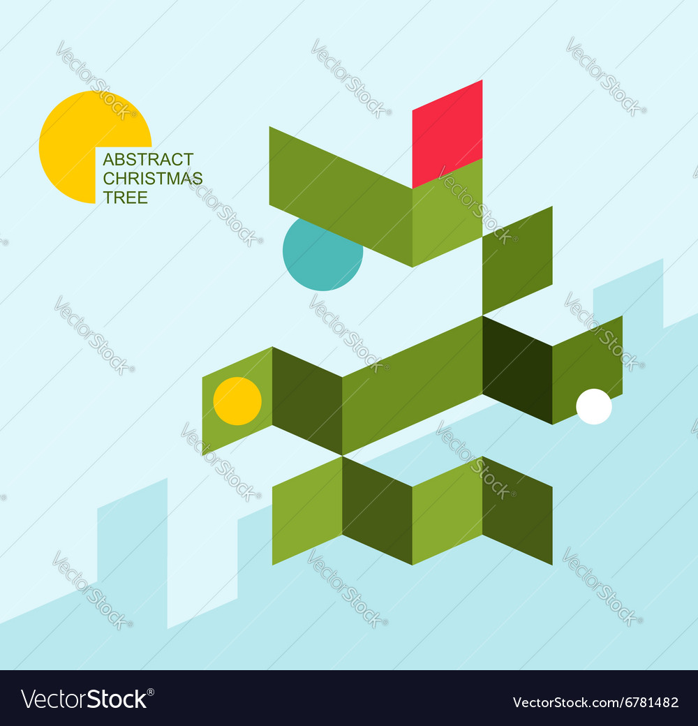 Christmas tree abstract Geometric shapes festive vector image