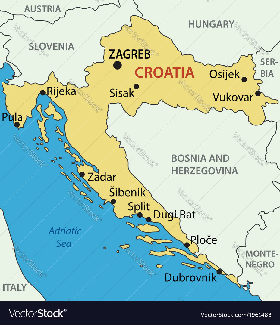 Republic of Croatia map Royalty Free Vector Image