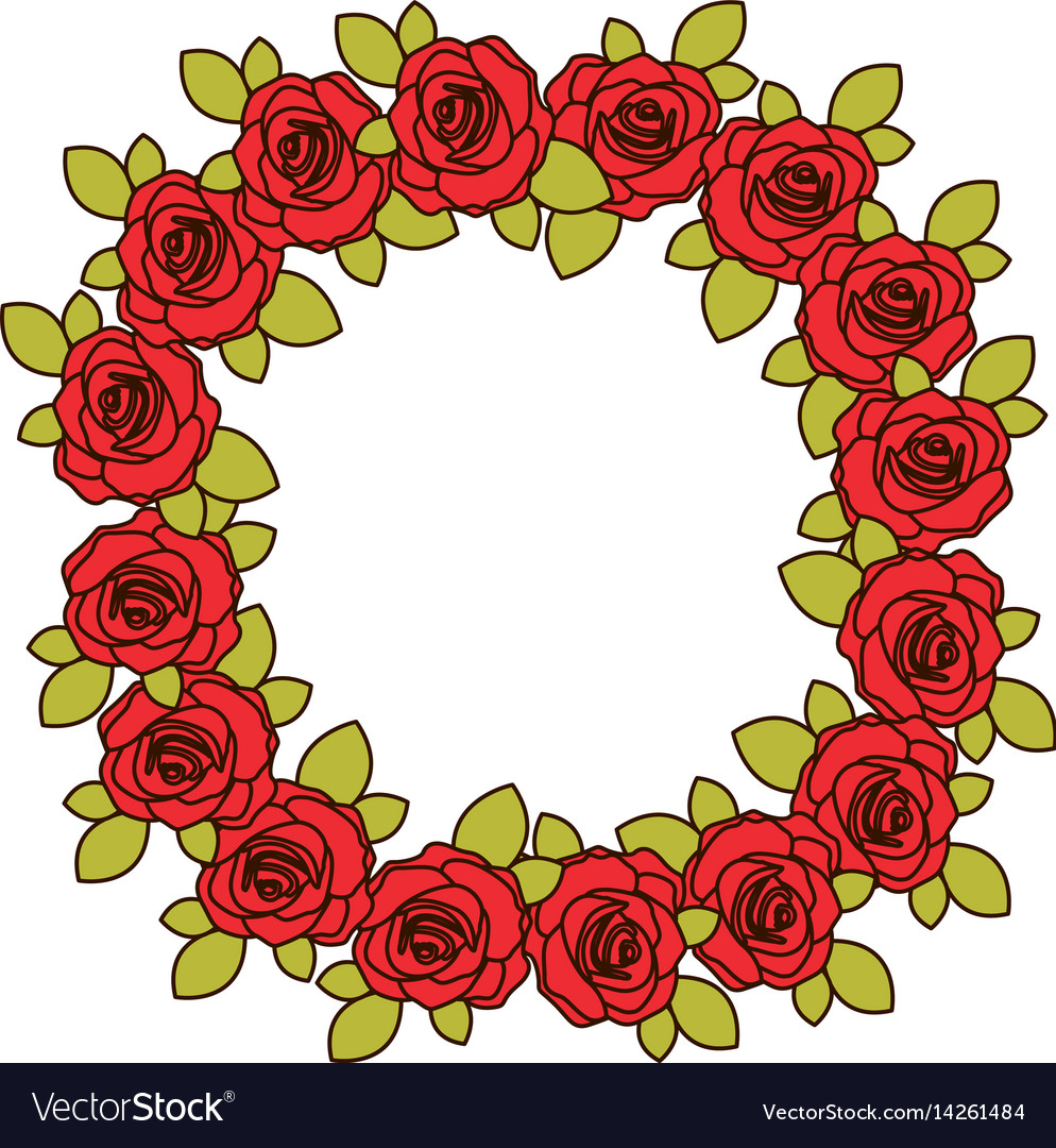 Colorful crown flowered red roses with leaves vector image