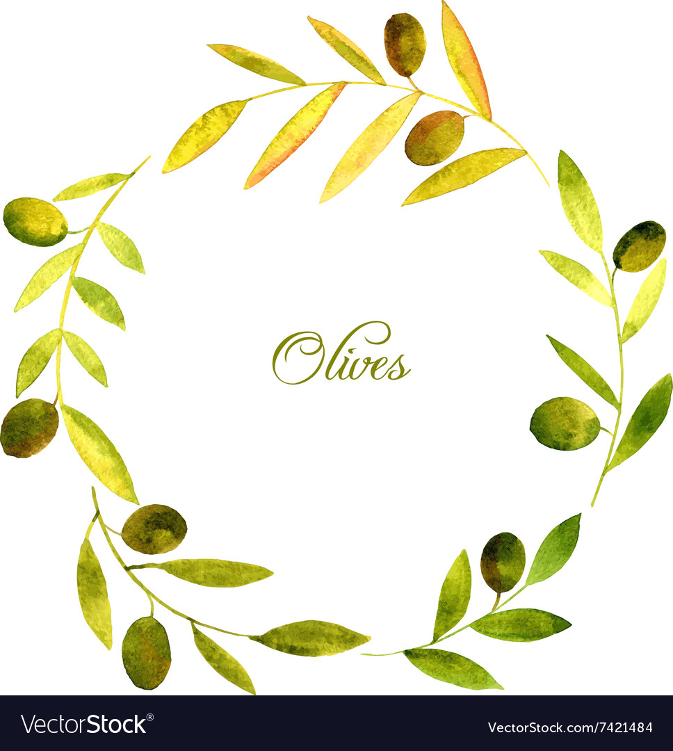 Round wreath with watercolor green leaves and vector image