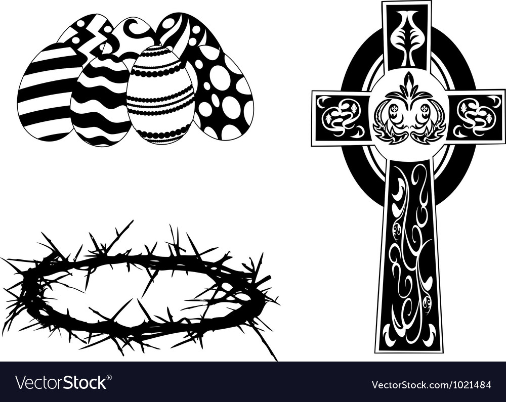 Silhouette items for easter day vector image