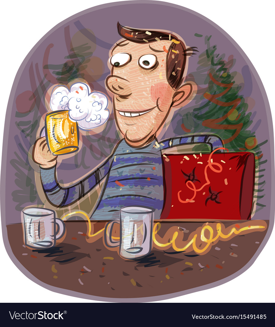 Holiday happy man holding a glass of beer vector image