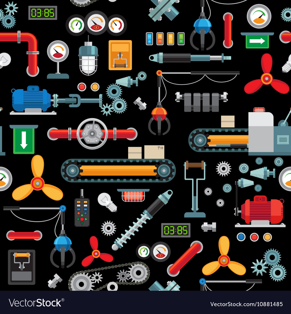 Machinery industrial seamless pattern vector image