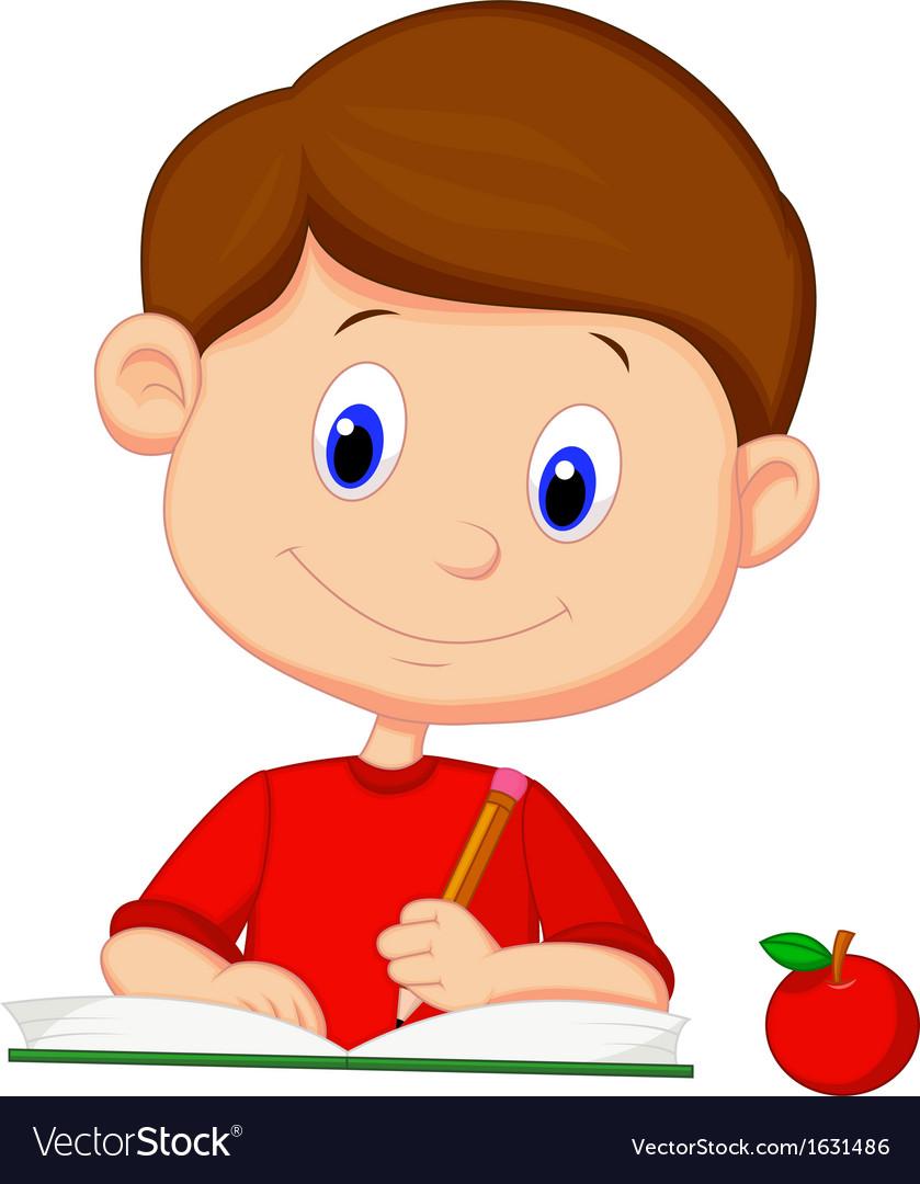 Cute boy cartoon writing on a book vector image