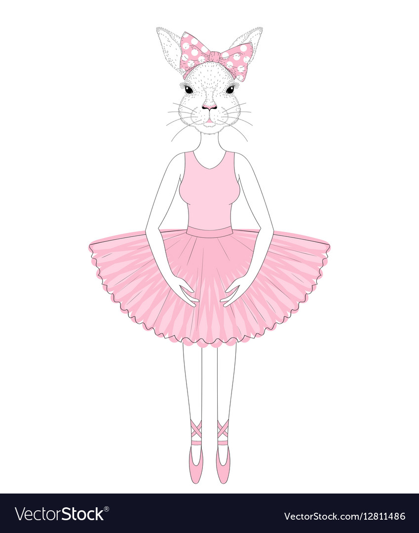 Cute bunny girl in dress like ballerina Hand drawn vector image