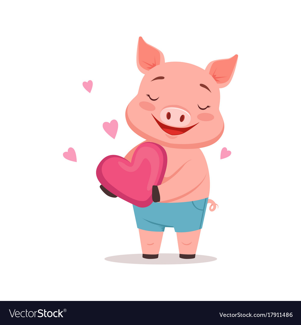 Cute Happy Pig Holding Pink Heart Funny Cartoon Vector Image