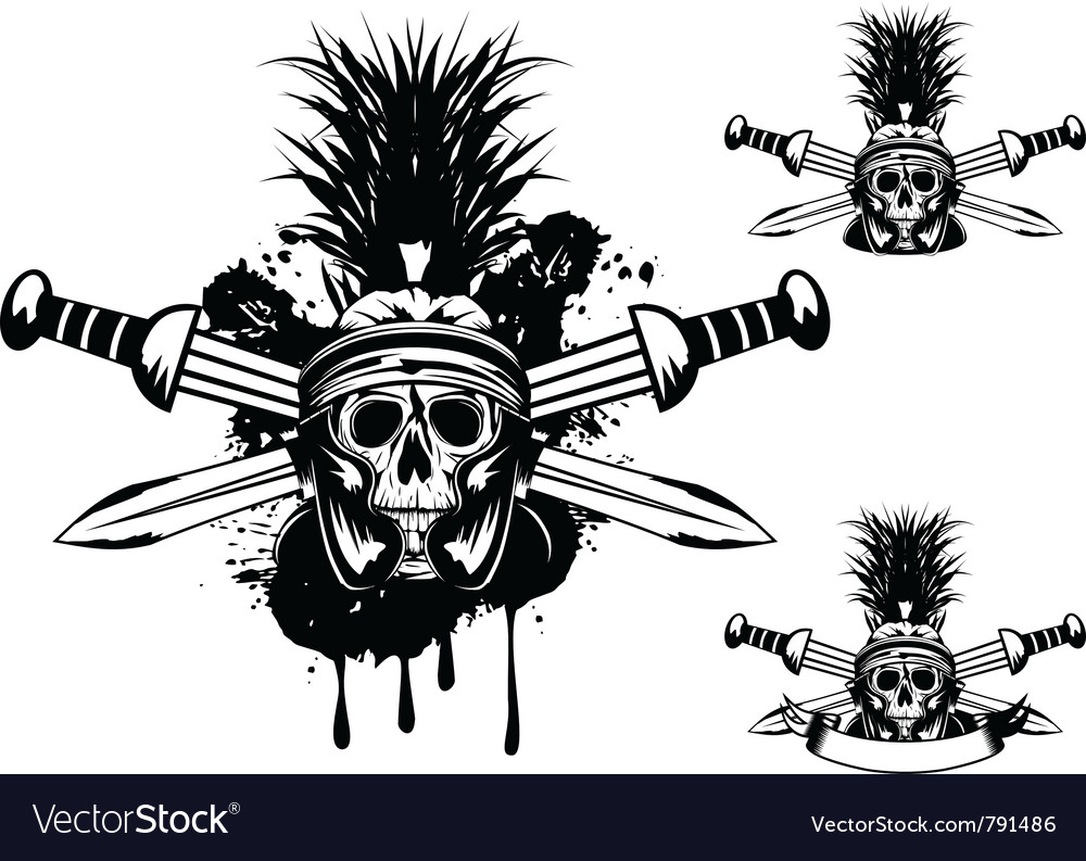 Skull in helmet and crossed sword vector image