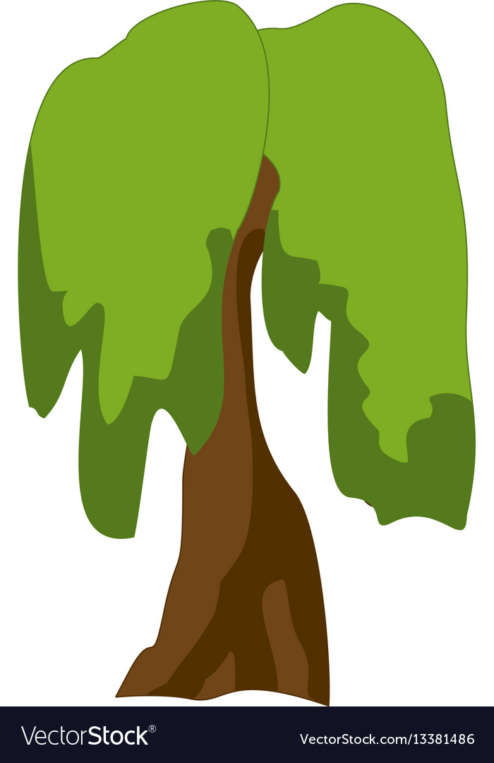 Stylized green tree cartoon vector image