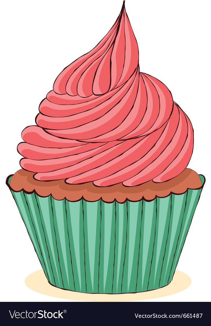 Hand drawn cupcake vector image