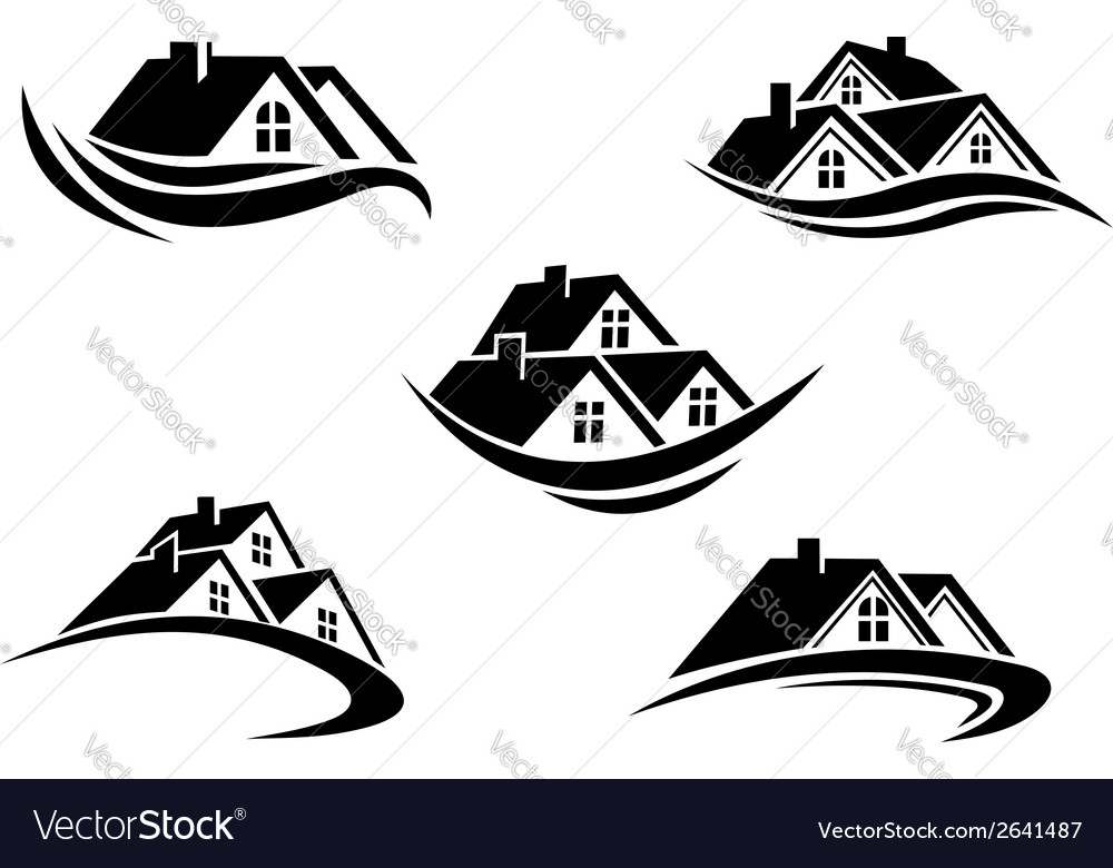 Set of silhouetted real estate icons vector image