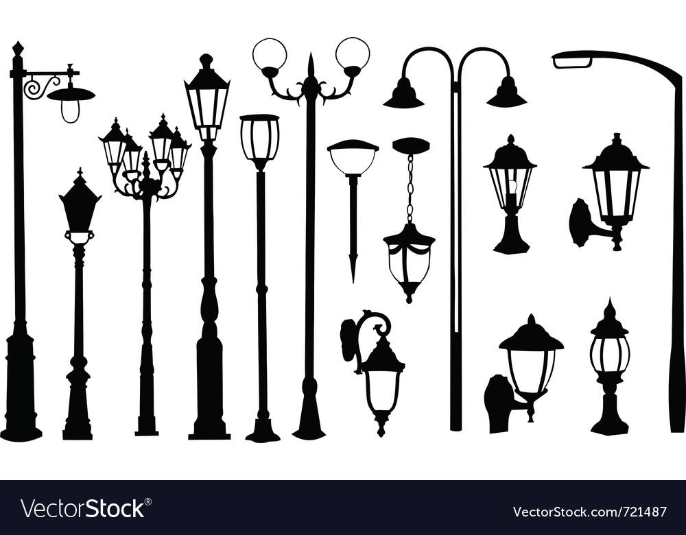 Street light silhouettes vector image