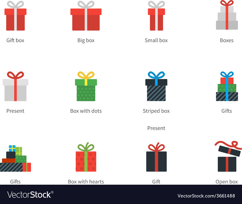 Gift box icons on white background vector image