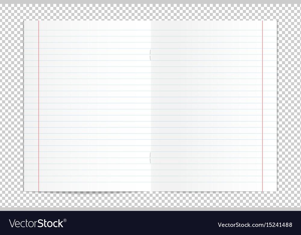 Realistic blank lined copy book spread vector image
