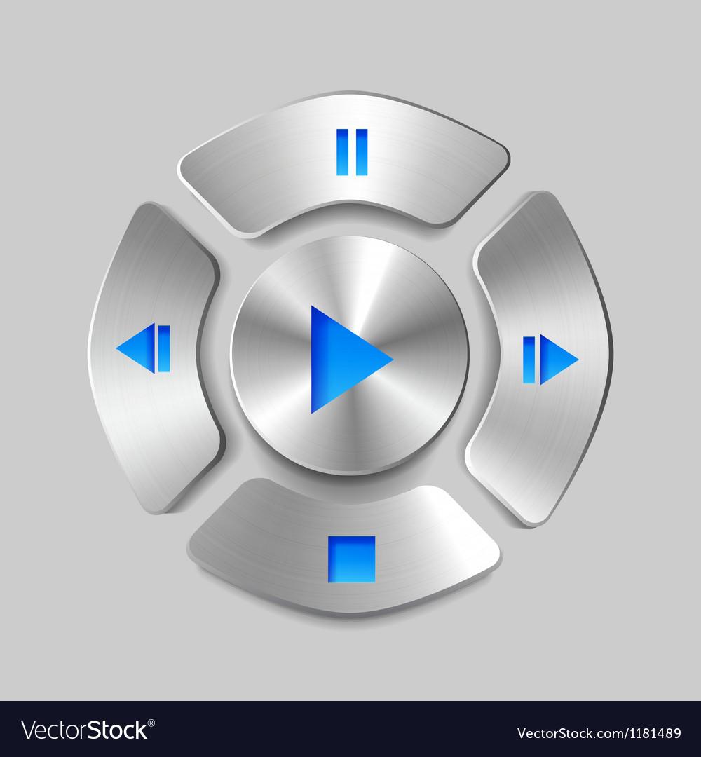 Shiny metal media player joystick vector image