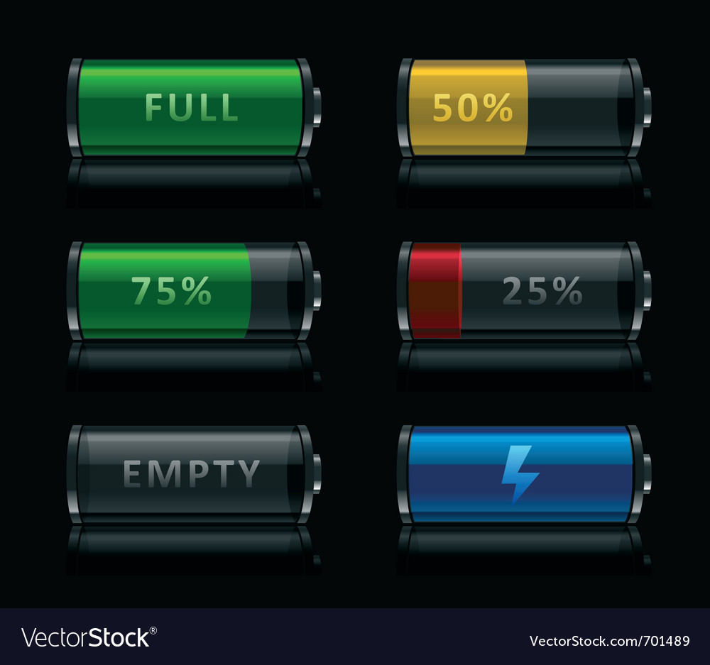 Set of battery level icons vector image