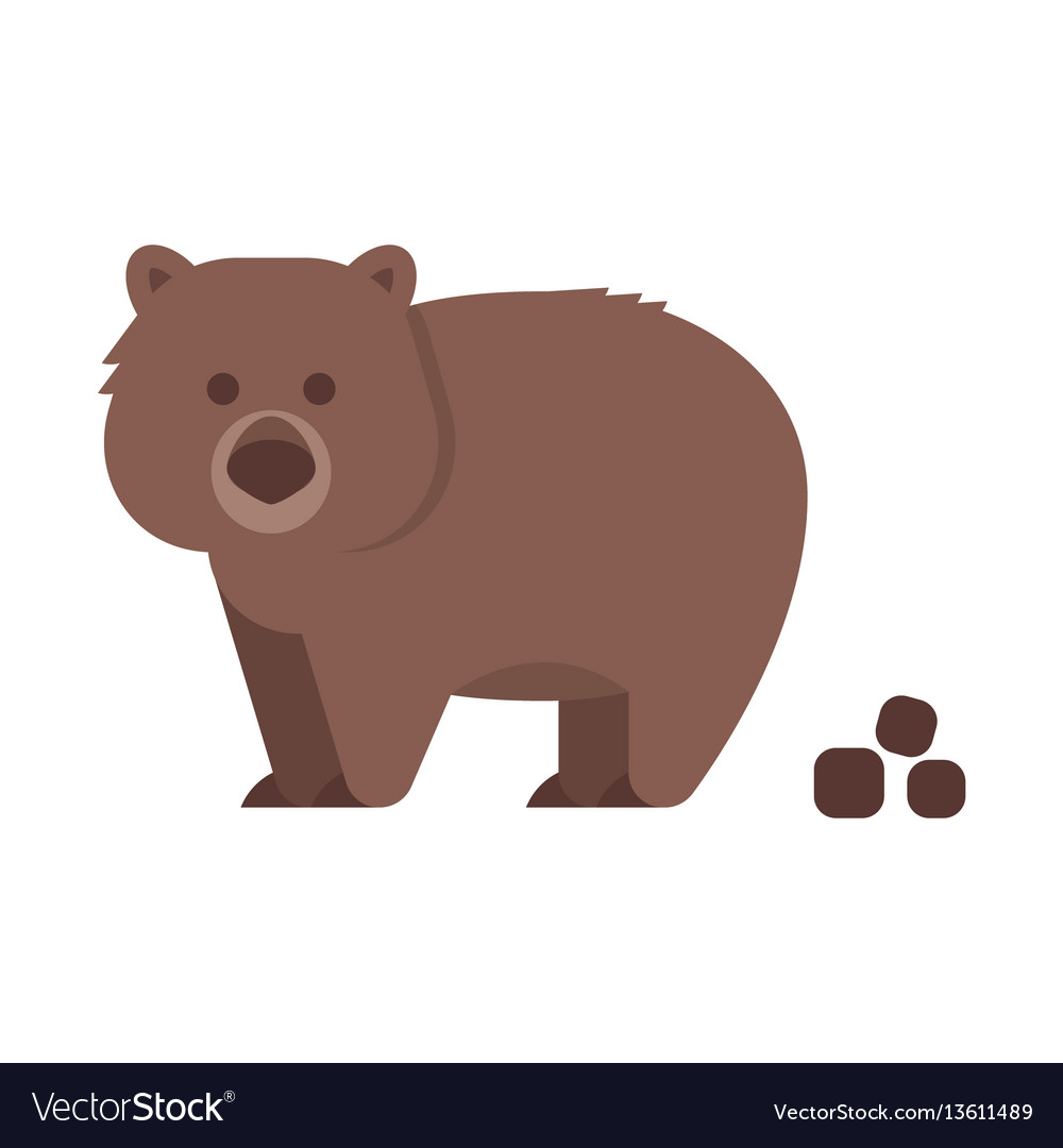 Flat style of wombat vector image