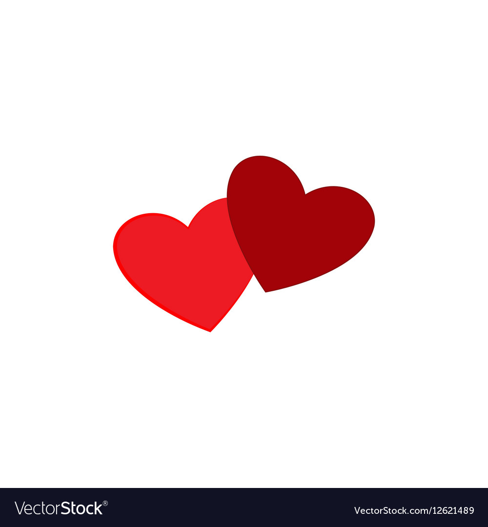 Heart two isolated vector image