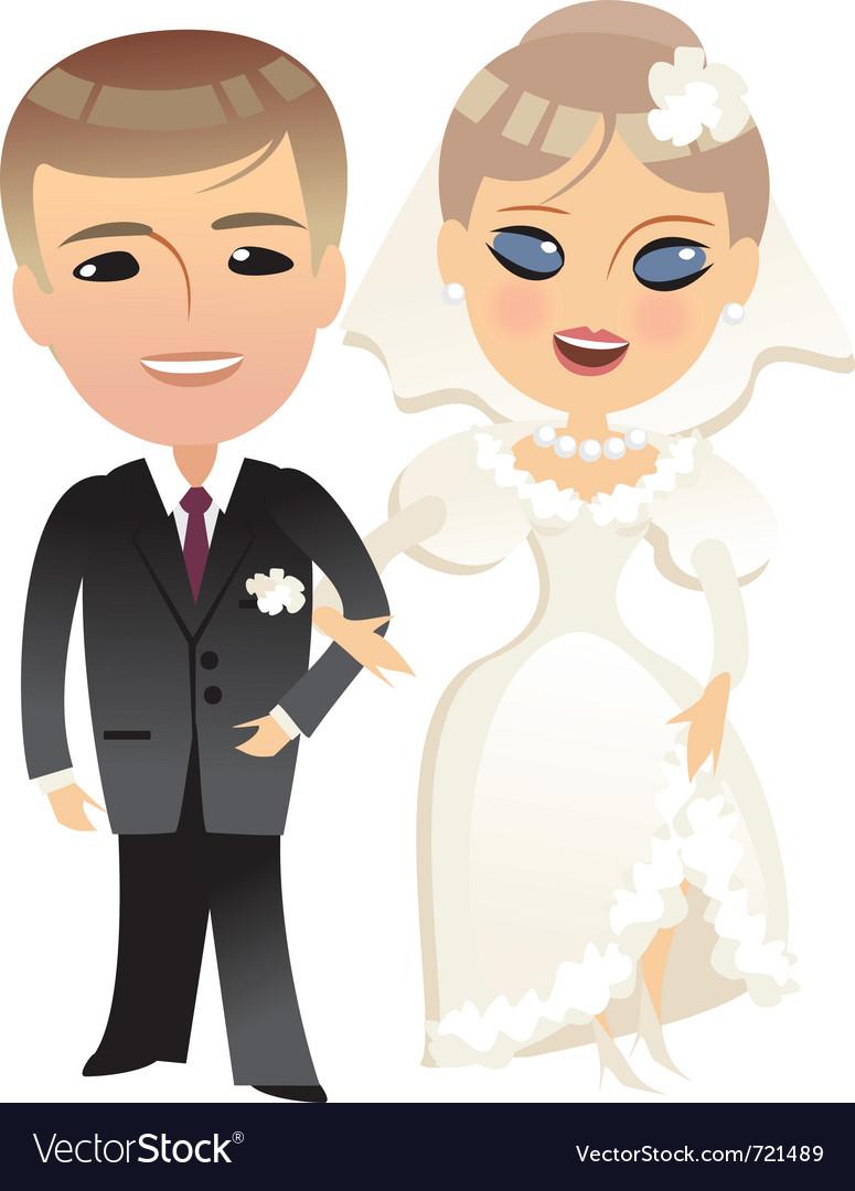 Wedding bride and groom cartoon vector image
