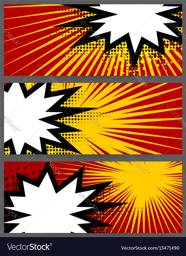 Comic book balloon horizontal red blank banner vector image