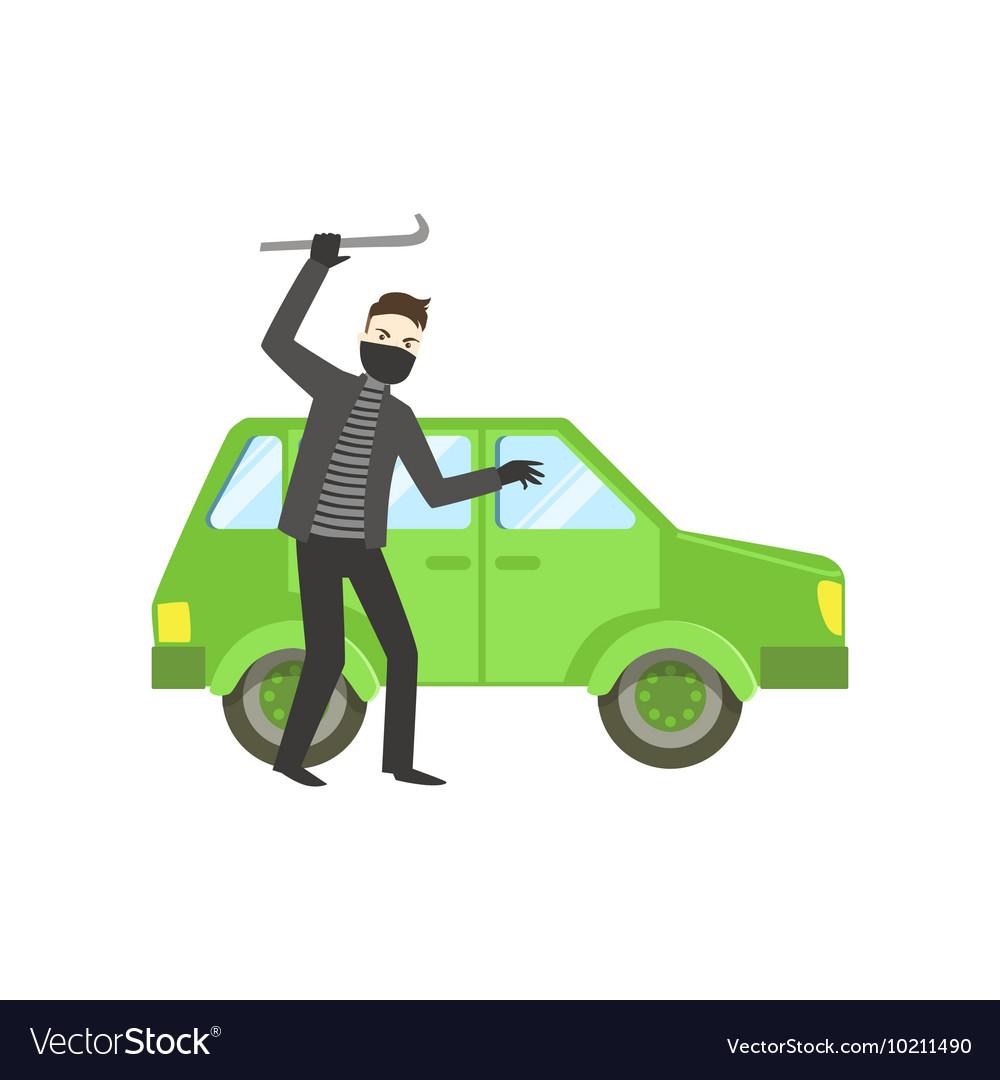 Criminal In Black Robbing The Car vector image
