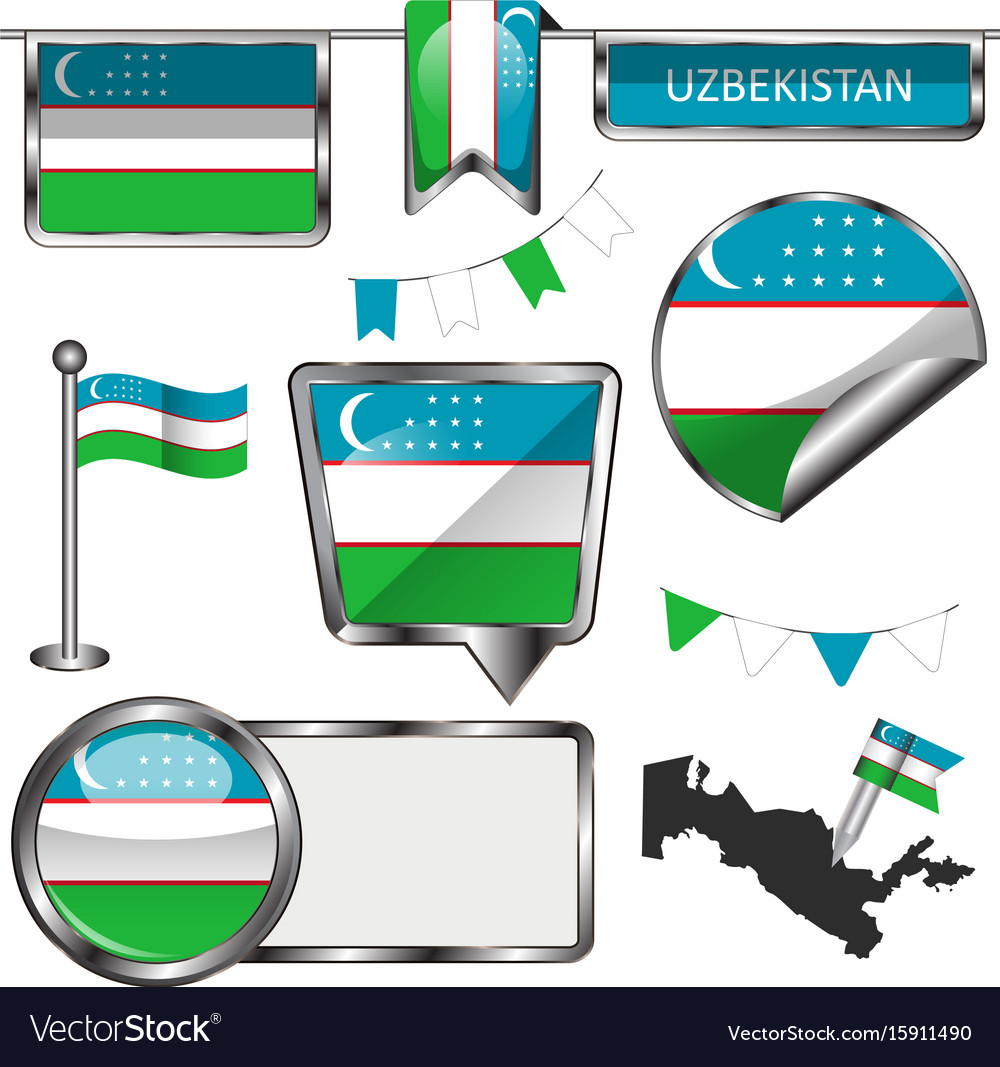 Glossy icons with flag of uzbekistan vector image