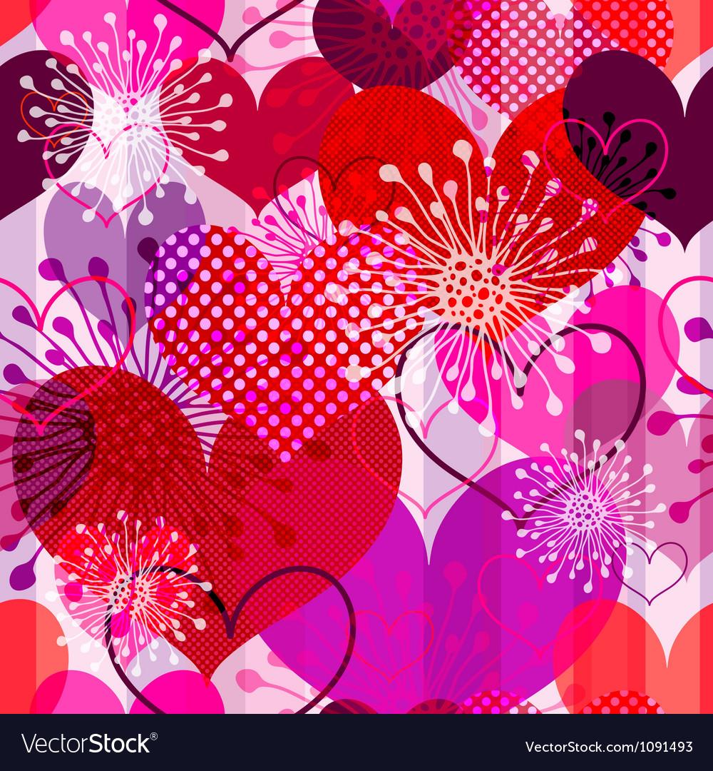 Seamless valentine striped pattern vector image
