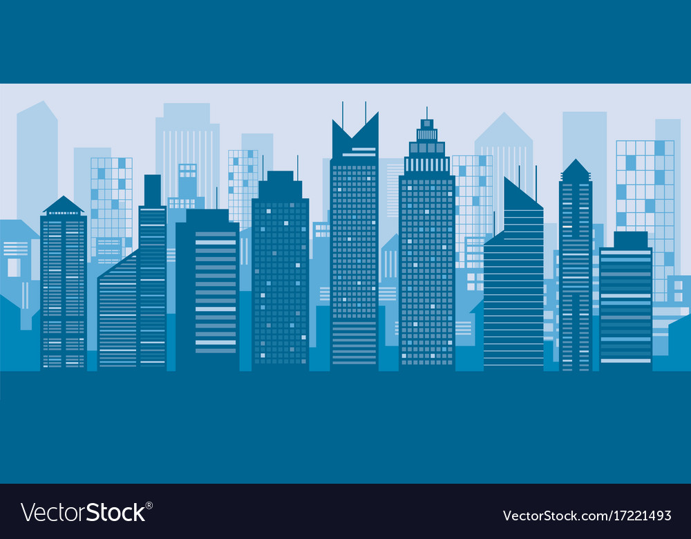 Buildings And Skyscrapers Blue Background Vector Image