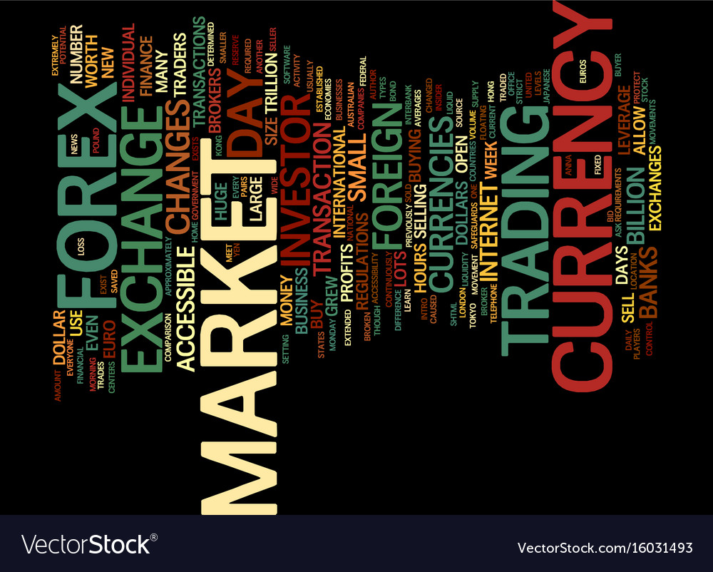 Learn currency trade intro to the forex market vector image