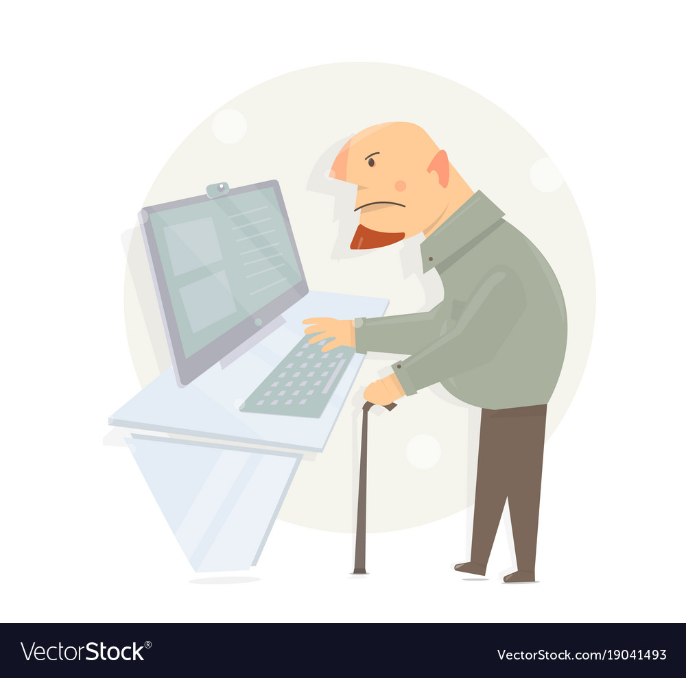 Oldster learns to use a computer gaffer looking vector image