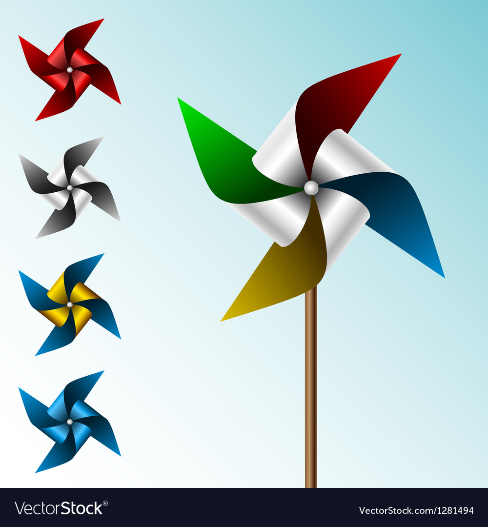 Colorful pinwheel set vector image