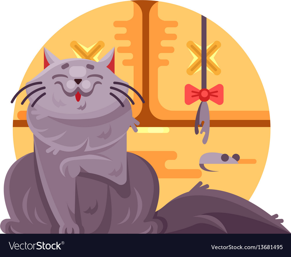 Cute cat and little mouse vector image