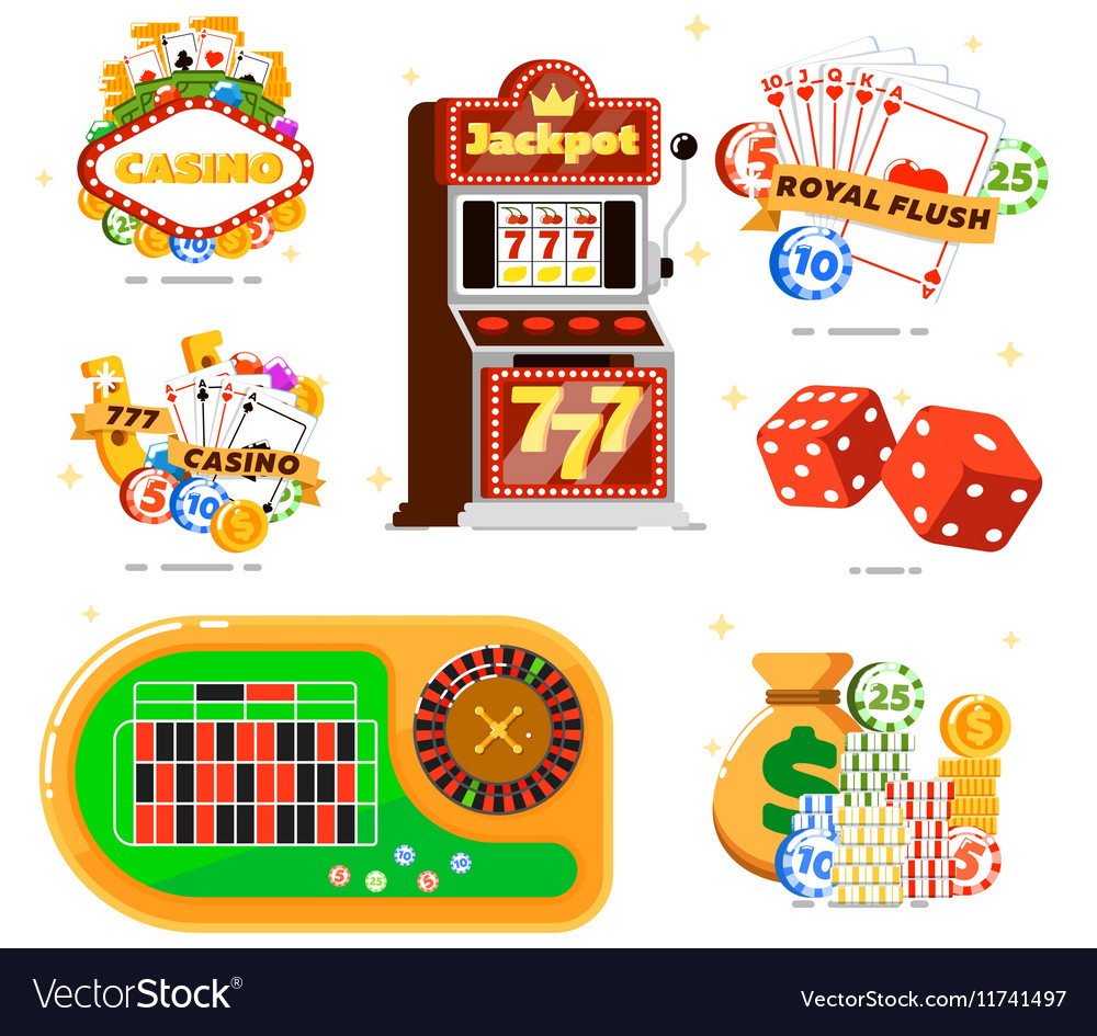 Casino set with poker club vector image