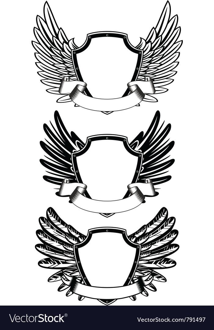 Shield and ribbon vector image