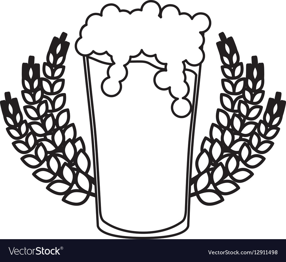 Contour beer glass with branches wheat image vector image