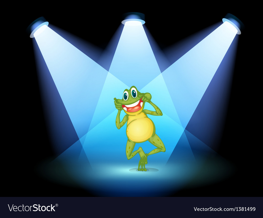 A frog smiling in the middle of the stage vector image