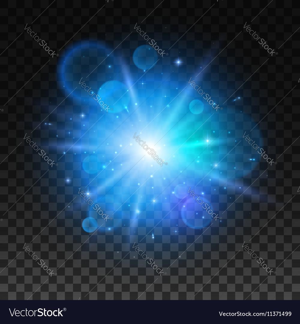 Bright star explosion Light lens flare sparkle vector image