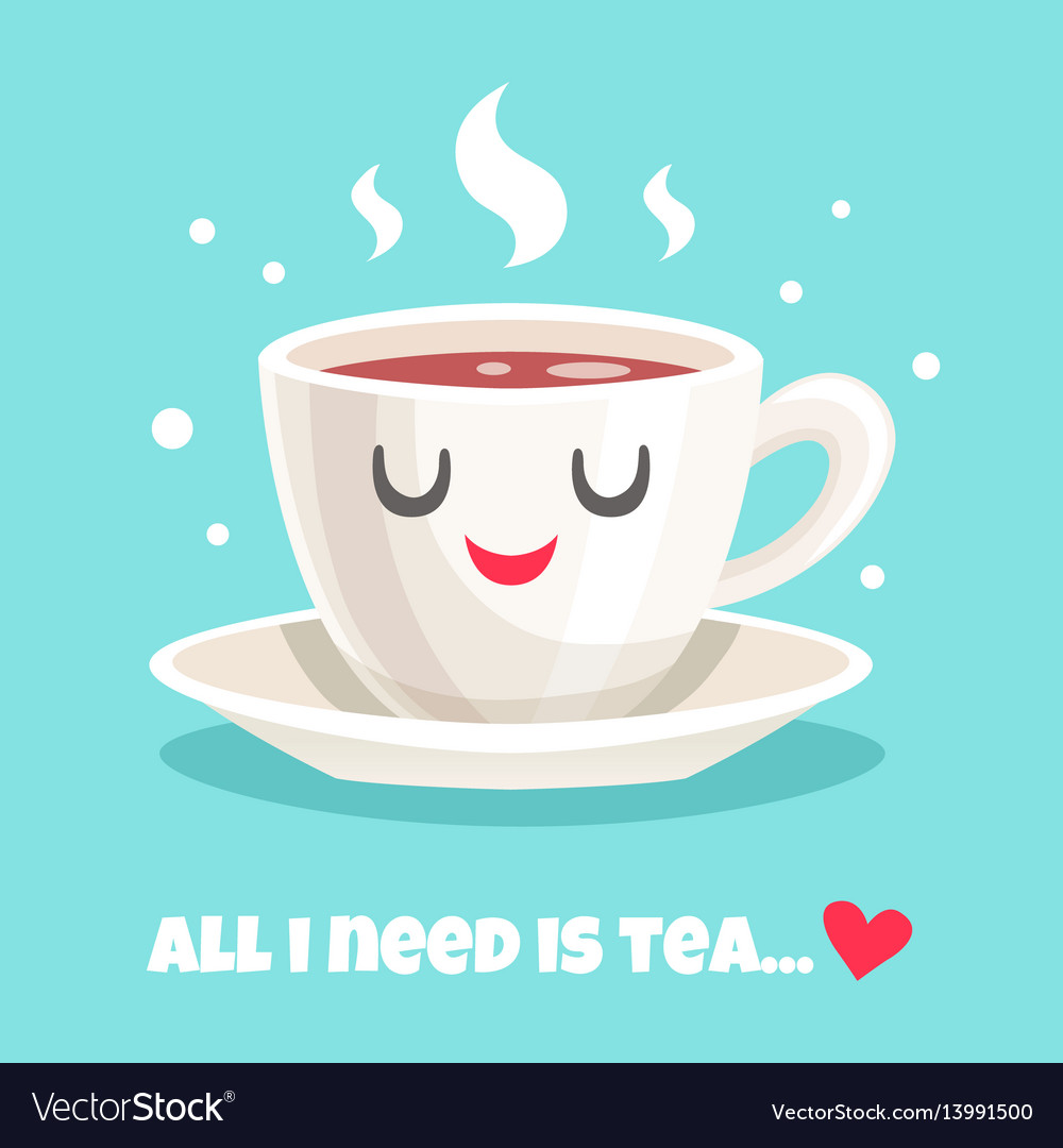 Cute teacup of black tea vector image