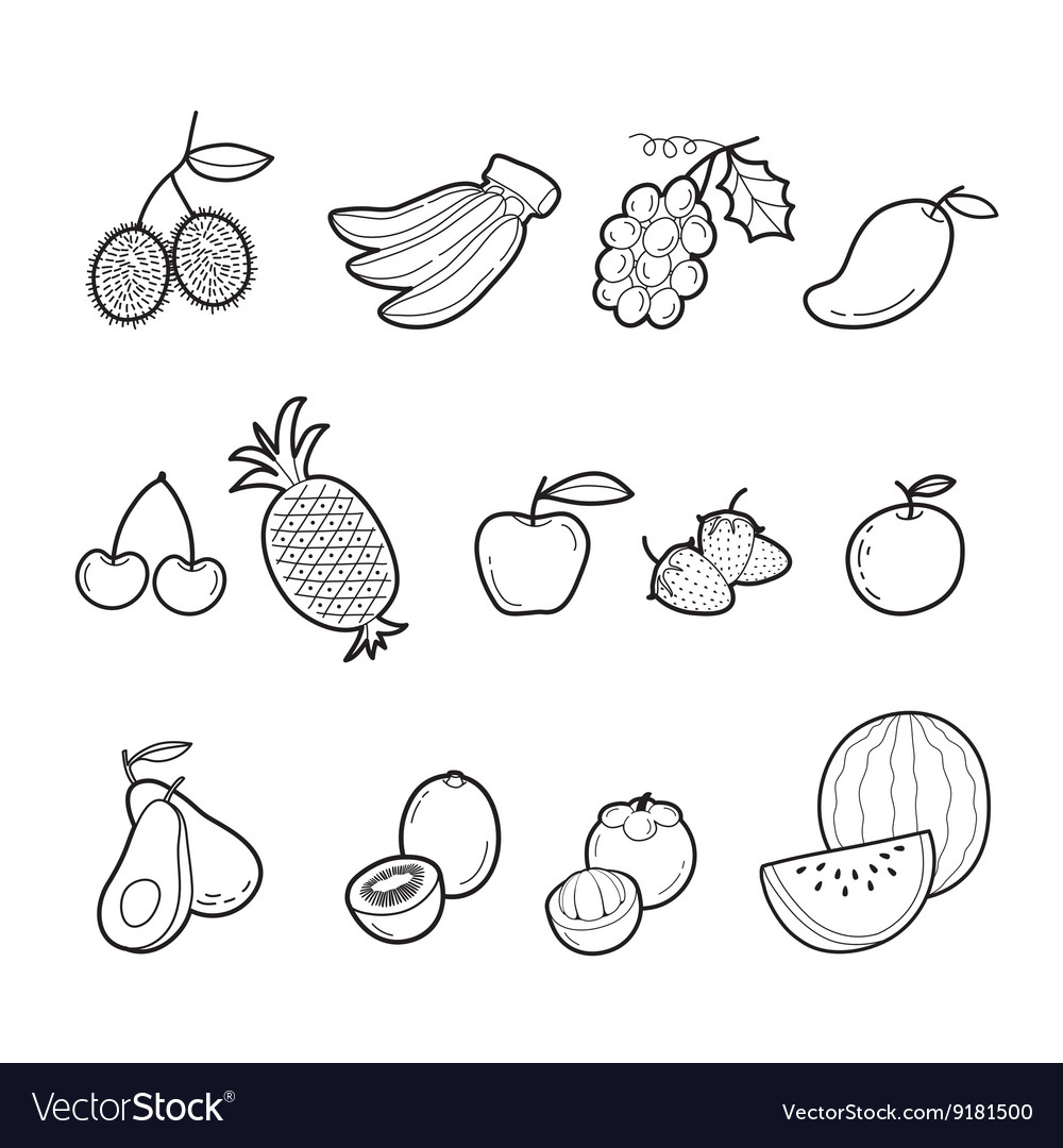 fruits outline icons set royalty free vector image
