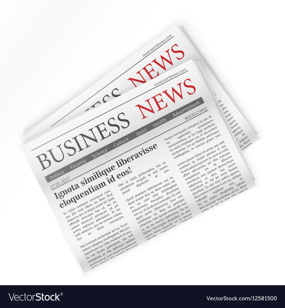 Newspaper Business news Regional newspapers vector image