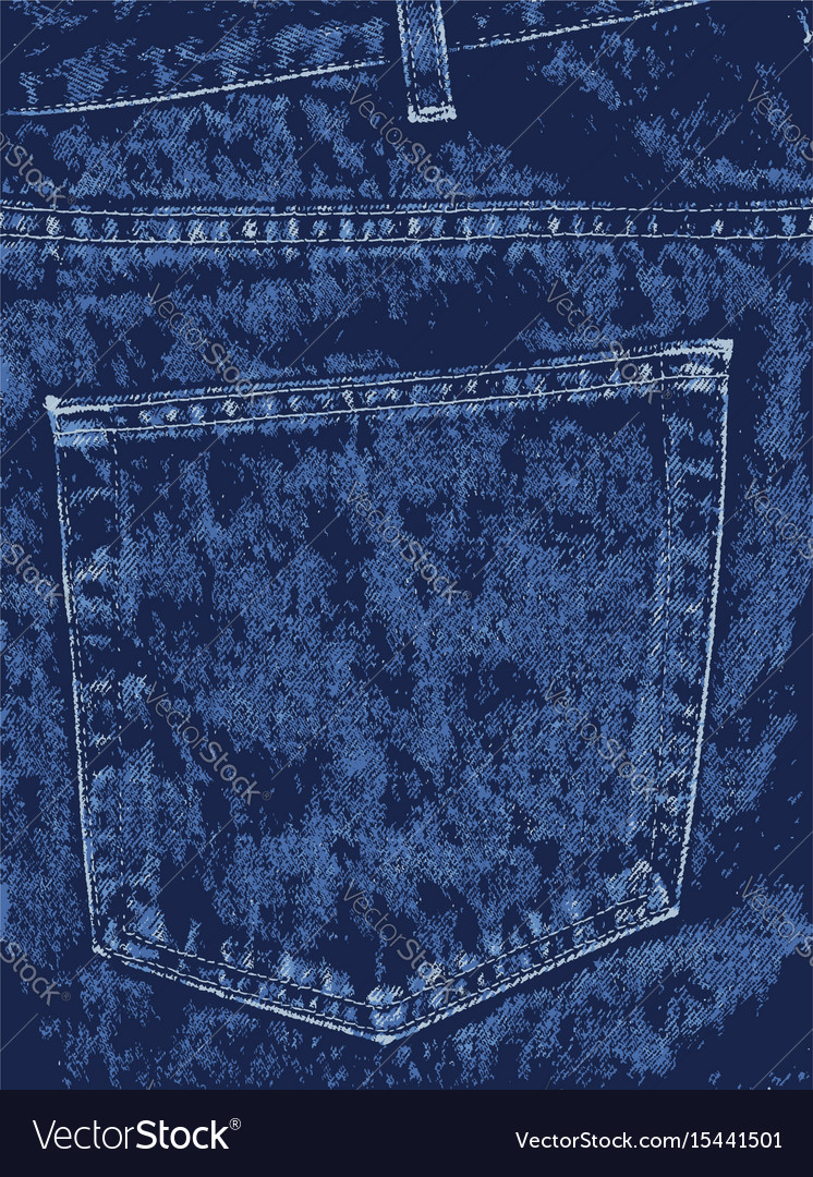 Blue denim pocket vector image