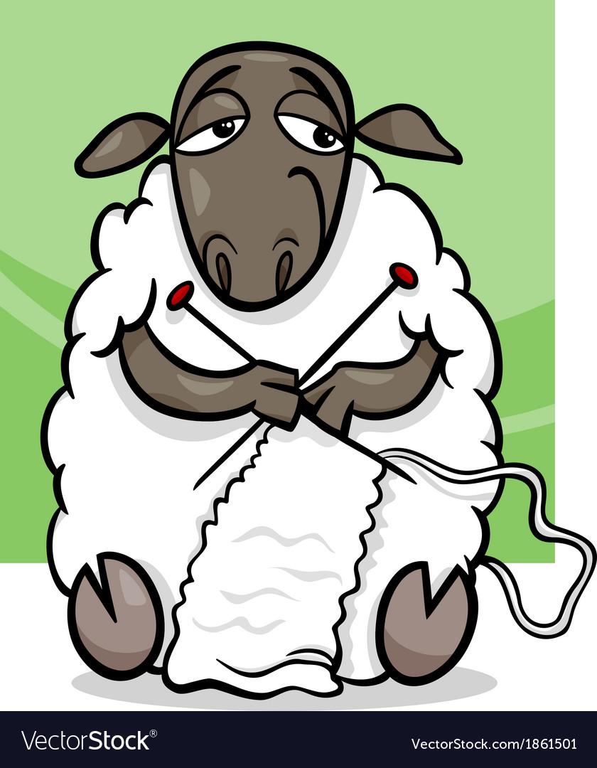Knitting sheep cartoon vector image