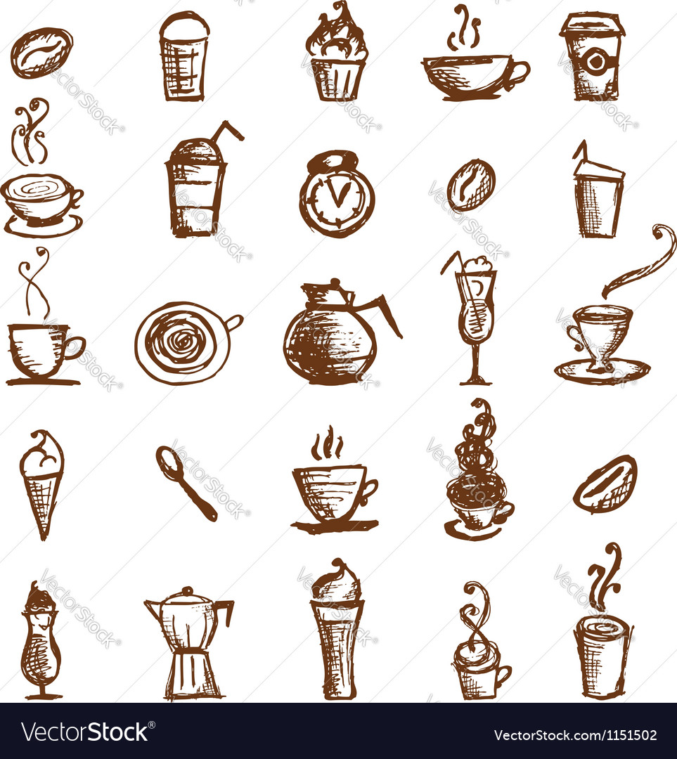 Coffee sketch design elements vector image